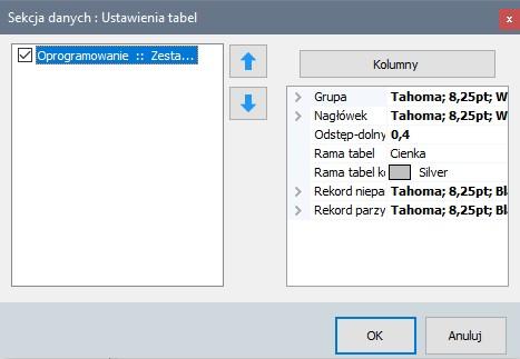 Drukowanie - okno ustawień drukowanych tabel