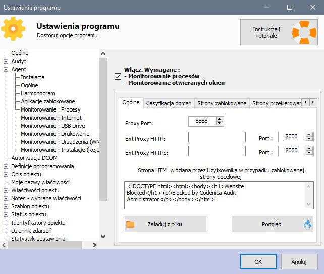 Ustawienia monitorowania - Internet