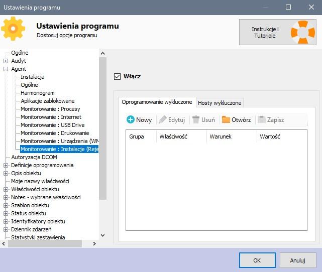 Ustawienia monitorowania - oprogramowanie