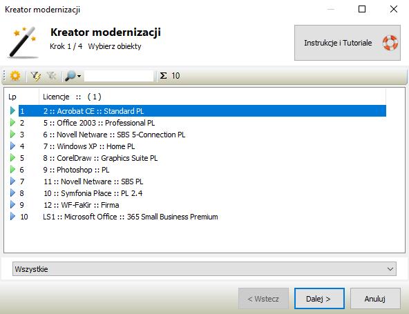 Ewidencja kosztów licencji - kreator modernizacji