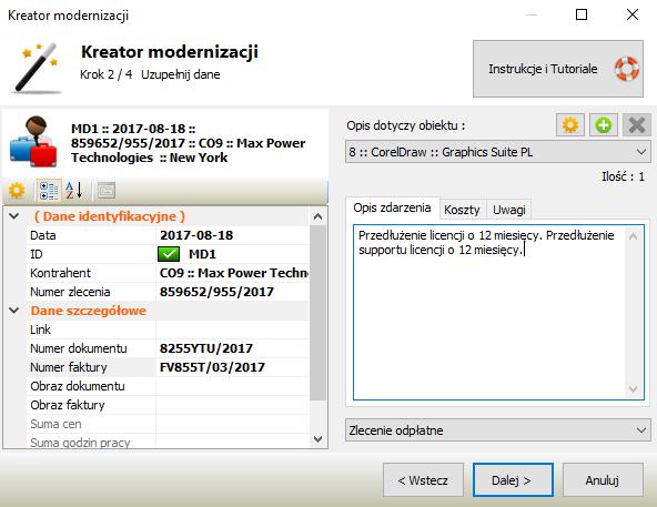 Ewidencja kosztów oprogramowania - kreator modernizacji