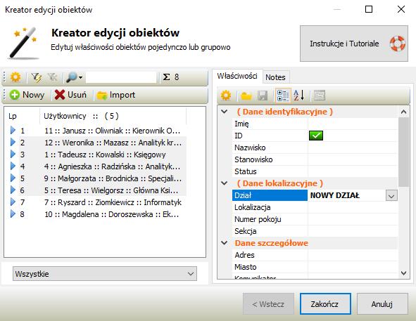 Grupowa edycja danych