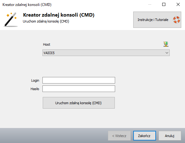 Helpdesk - zdalna konsola CMD