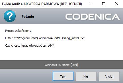 Okno logu instalacji - monitorowanie komputera.