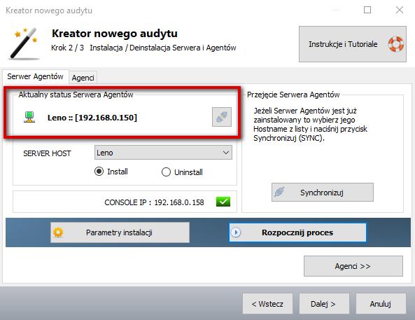 Monitorowanie komputera - Serwer zainstalowany.