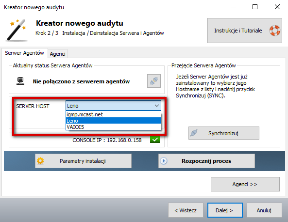 Monitorowanie komputera w Ewida Audit - Instalacja Serwera