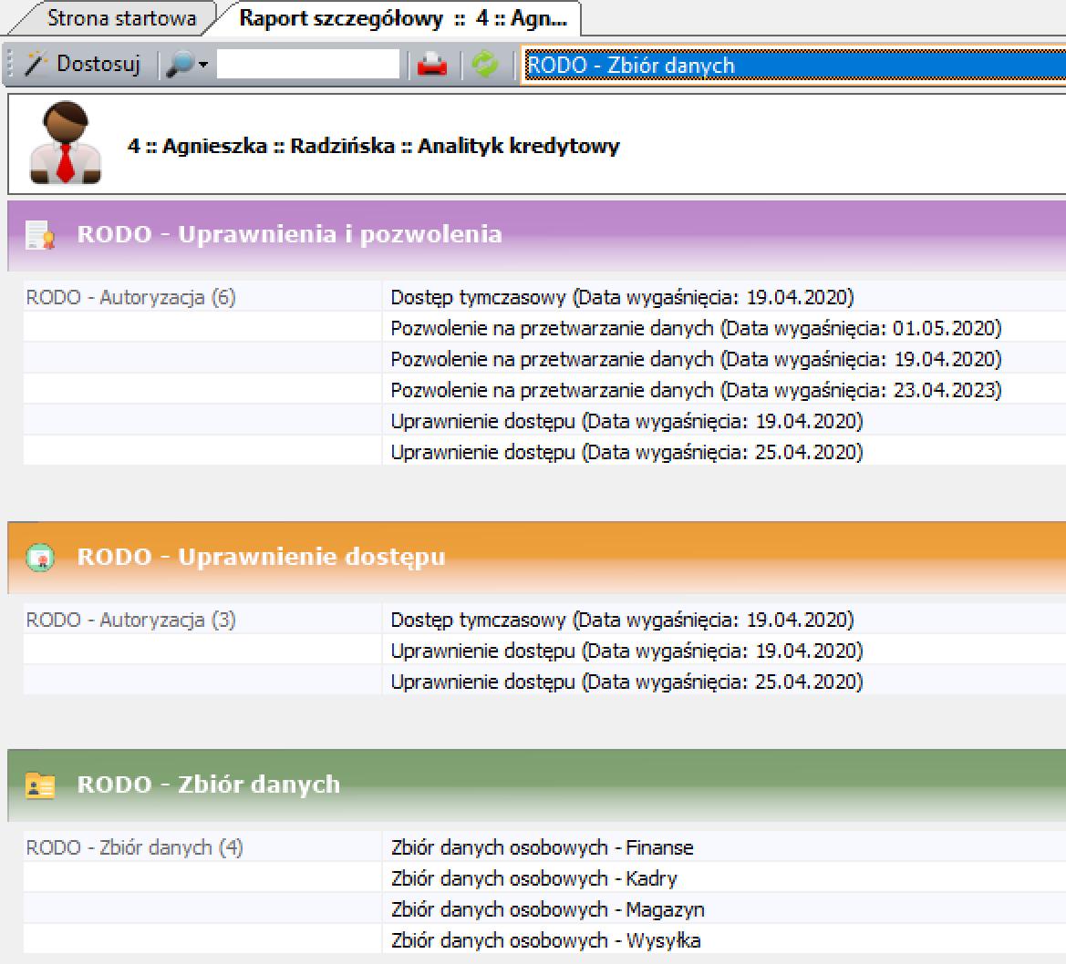 Aplikacja RODO - Raport szczegółowy użytkownika