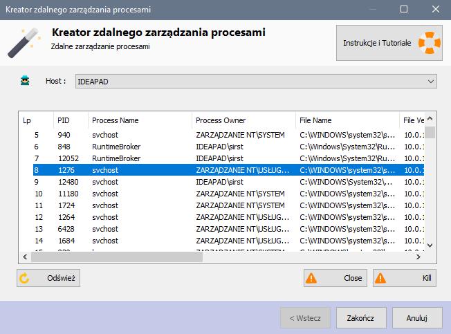 Helpdesk - zdalne zarządzania procesami