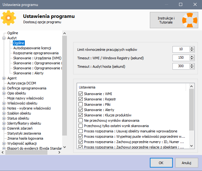 Audyt IT - Ustawienia programu