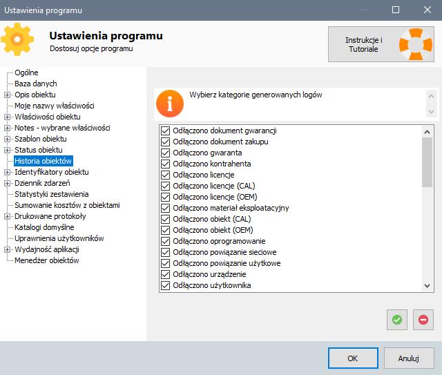 Ustawienia programu - loga